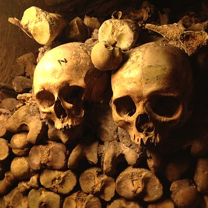 Two Skulls in the Parisian Catacombs, One of Which Has a Lightning Bolt Scar Like Harry Potter