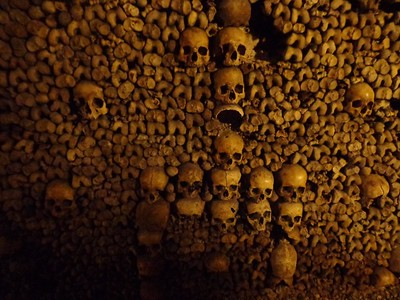 Wall of Bones in the Catacombs of Paris, France