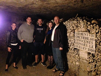 Family Photo in the Catacombs of Paris