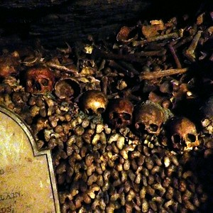 Clustered Bones Line the Walls of the Catacombs of Paris