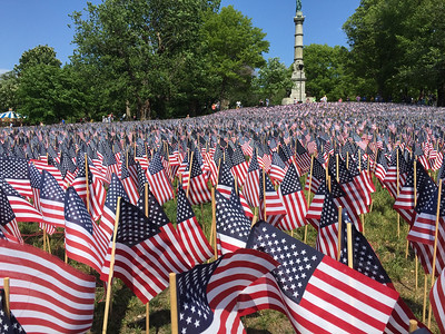 Flags put out in Boston Common for Memorial Day