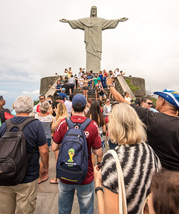 Crowded steps at Christ the Redeemer