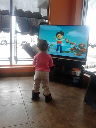 Saleena watching Paw Patrol while we wait on our tire getting fixed.