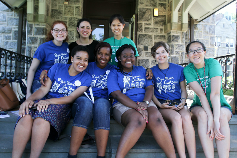 Merion Hall Advisors from left: (Bottom) Shaina Robinson '17, Jenille Scott '17, Mimi Gordor '17, Alison Robins '17, Kaeun Bae '15, (Top) Ellen Cohn '17, Shorouk Badir '16, Tianyuan Zhang '15.<br /> Photo Credit: Paola Nogueras