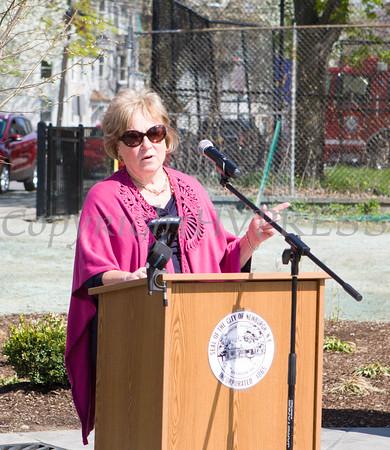 Patricia Larkin offers remarks on behalf of NYS Senator William Larkin during the Tyrone Crabb Memorial Park dedication on May 1, 2015 in Newburgh, NY. Hudson Valley Press/CHUCK STEWART, JR.
