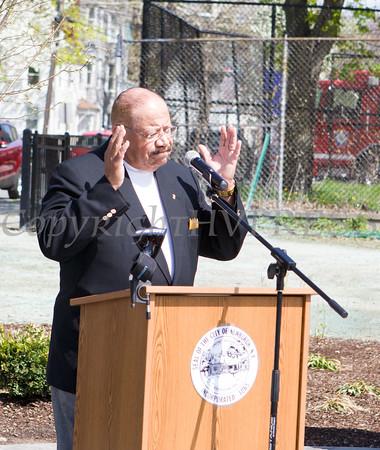 Eugene L. Aiken, Jr. offers remarks on behalf of the Crabb family during the Tyrone Crabb Memorial Park dedication on May 1, 2015 in Newburgh, NY. Hudson Valley Press/CHUCK STEWART, JR.