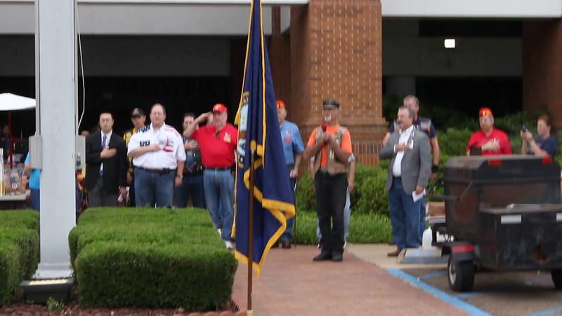 Biker Bob leading the Pledge of Allegiance.