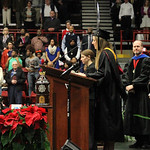 Katie Loften, Bachelor of Science in Biology, gives the Invocation. Photo by Elizabeth Banfield