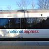 National Express branding on c2c Class 357 no. Electrostar no. 357034.