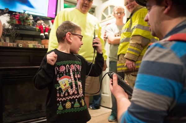 JOED VIERA/STAFF PHOTOGRAPHER Lockport, NY-Justin Mistalski plays with a Walkie Talkie.