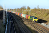 23 December 2015 :: A wider angle view at the same location of South Moreton and we see 70006 working 4O70 from Wentloog to Southampton