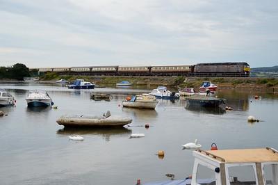 57316 tnt 57601 pass Starcross Harbour on 1801/1z08 Kingswear - Chester    29/08/15