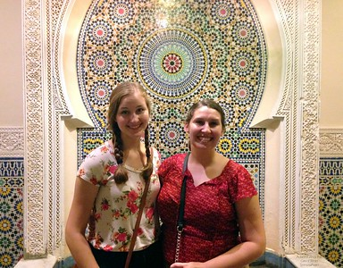 Michelle and I With a Beautiful Tiled Wall at Epcot's Morocco Pavilion