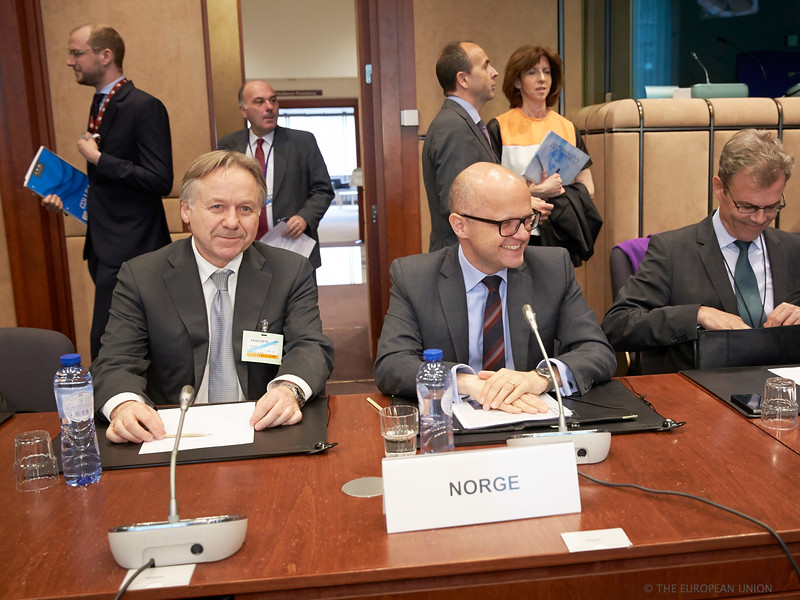 From left: Mr Helge Skaara, Director-General, Norwegian Ministry of Foreign Affairs, Mr Vidar Helgesen, Minister of EEA and EU Affairs at the Office of the Prime Minister of Norway, and Mr Atle Leikvoll, Ambassador, Norwegian Mission to the EU (Photo: Council of the European Union)