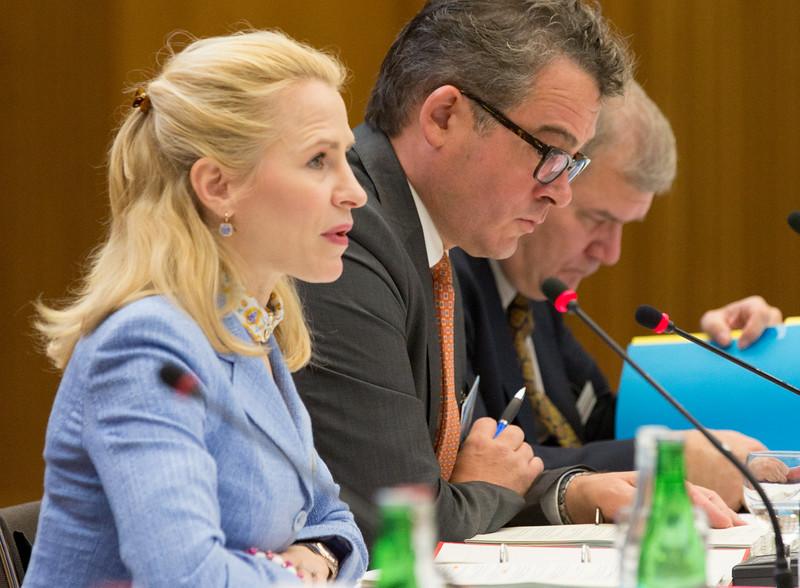 From left:  Ms Aurelia Frick, Minister of Foreign Affairs, Liechtenstein; Mr Peter Matt, Ambassador, Permanent Representative, Permanent Mission in Geneva; and Kurt Jäger, Ambassador , Permanent Representative, Permanent Mission to the EU in Brussels.