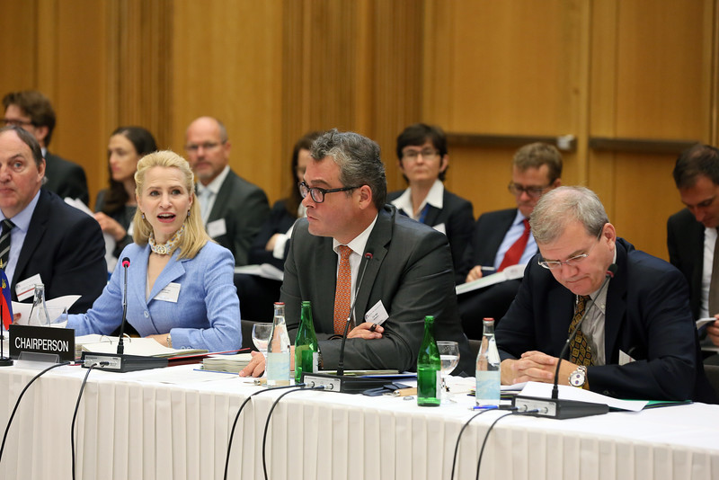 From left:  Ms Aurelia Frick, Minister of Foreign Affairs, Liechtenstein; Mr Peter Matt, Ambassador, Permanent Representative, Permanent Mission in Geneva; and Kurt Jäger, Ambassador , Permanent Representative, Permanent Mission to the EU in Brussels.