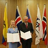 Ms Aurelia Frick, Minister of Foreign Affairs, Liechtenstein and Mr Gonzalo Salvador, Ambassador of Ecuador to Switzerland.
