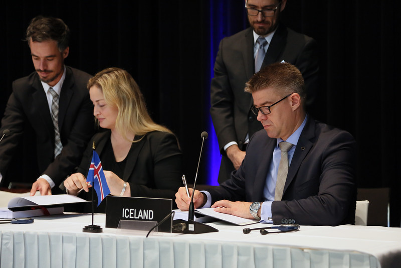 From left: Ms Dilek Ayhan, State Secretary, Ministry of Trade and Industry, Norway; and Mr Gunnar Bragi Sveinsson, Minister for Foreign Affairs and External Trade, Iceland.