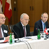From left: Didier Chambovey, Ambassador and Delegate of the Federal Council for Trade Agreements, Head of the World Trade Division in the State Secretariat for Economic Affairs; Mr Johann N. Schneider-Ammann, Federal Councillor, Head of the Federal Department of Economic Affairs, Education and Research, Switzerland; and Remigi Winzap, Ambassador, Permanent Representative of Switzerland to the WTO and EFTA, Geneva.