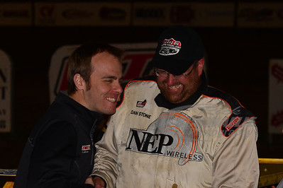 Dan Stone and Michael Rigsby in Victory Lane after winning the DirtonDirt.com Strawberry Dash