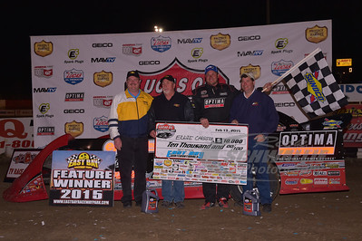 Eddie Carrier, Jr. in Victory Lane with Sunoco Representatives - Brian Bazell, Tim McWhorter and Russ Bradford