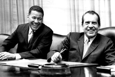 President Nixon and Sen.Edward Brooke relax and share a laugh during yester day's meeting . 3/6/1969