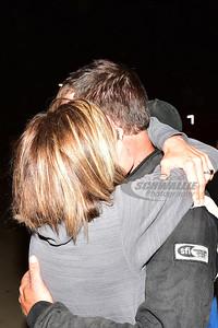 Jonathan Davenport receives a hug from fiance - Rachel Patterson