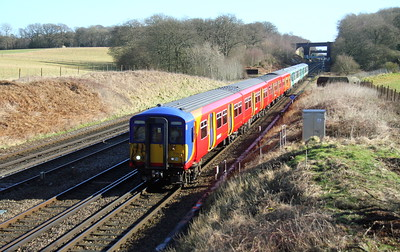455739 Potbridge 17/02/15 5B39 Wimbledon to Bournemouth with 456005 and 456023