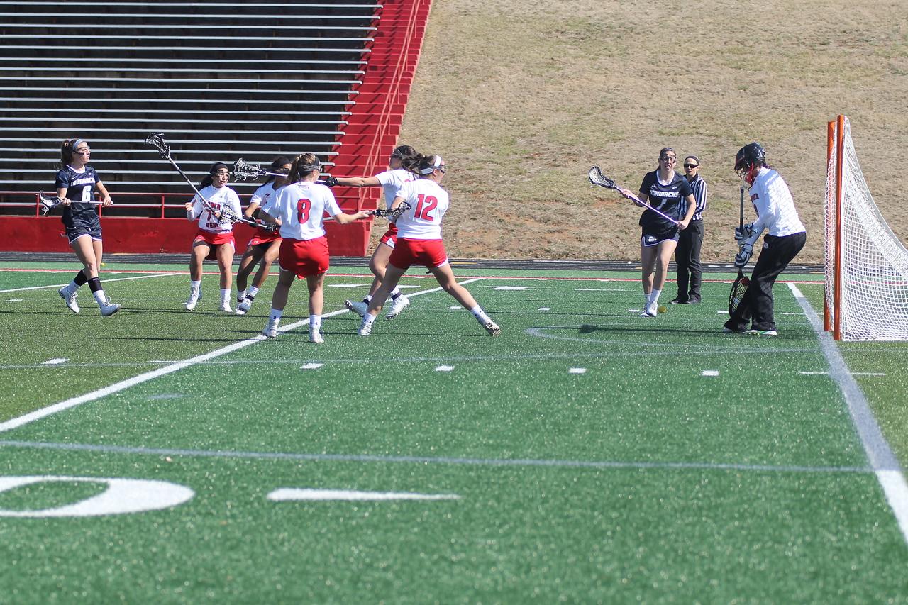 GWU defends the goal.