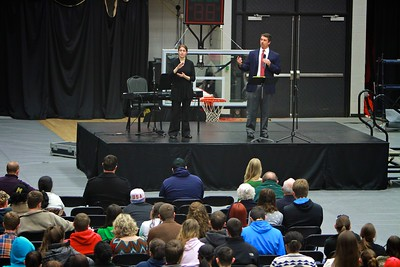 Former Carolina Panthers' Kicker John Kasey speaks to students at weekly Dimensions service: Master, Mission, Mate.