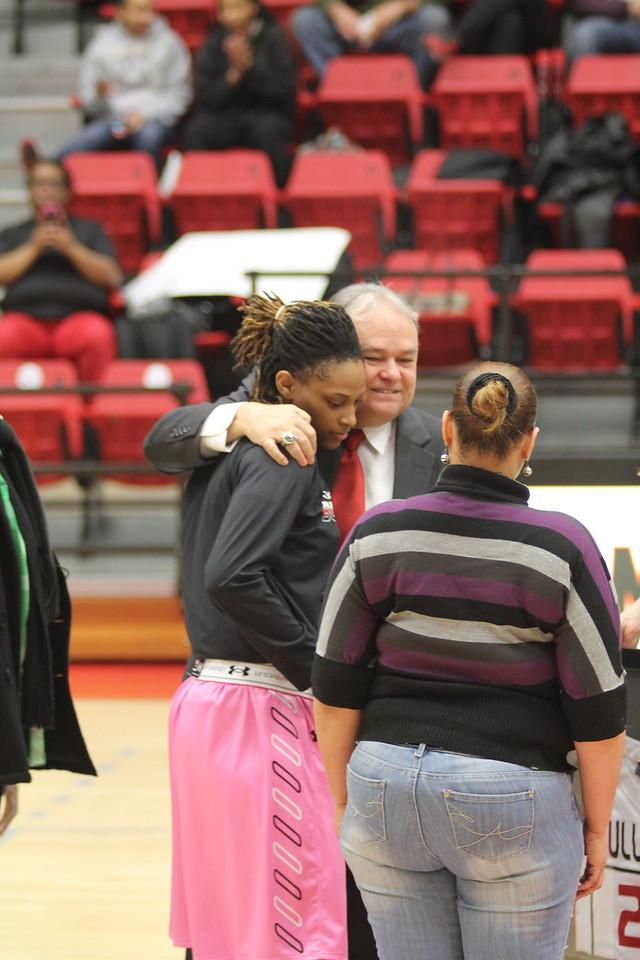 The three seniors; Chariah Harris, Jessica Heilig, and Mayhana Dunvant; were honored before the start of the game.