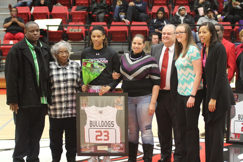 The three seniors; Chariah Harris, Jessica Heilig, and Mayhana Dunvant; were honored before the start of the game.
