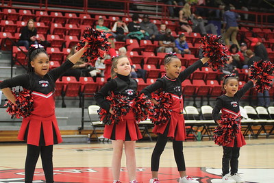 Cheerleaders from Springmore Elementary School performed during halftime.