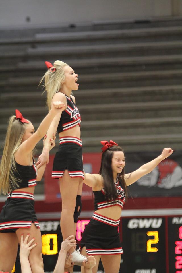 Gardner-Webb cheerleaders perform during media timeouts.