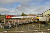 13 February 2015 :: A South West Trains class 159 passes the turntable in the Yeovil Railway Centre and 50050 while working 1L25, the 1020 Waterloo to Exeter St Davids