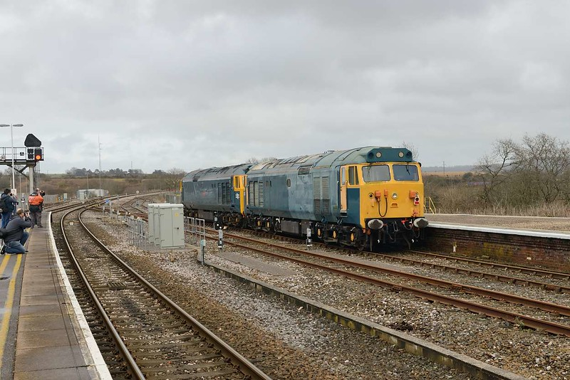 13 February 2015 :: A final view of 50050 behind 50007 as the brace of locomotives depart from Yeovil Junction to Washwood Heath as 0Z51