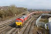 20 February 2015 :: 59206 is arriving at Westbury with 4C31 from Theale to Merehead with a rake of ex EWS coall hoppers