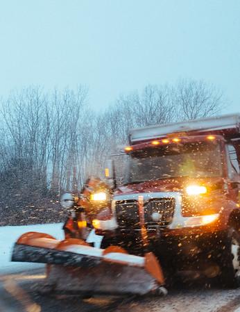 JOED VIERA/STAFF PHOTOGRAPHER- Lockport, NY-A truck plows snow as it falls on Chestnut Ridge Road. Thursday, January, 29, 2015