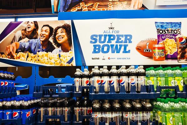 JOED VIERA/STAFF PHOTOGRAPHER- Lockport, NY-A Super Bowl display at Tops on Transit Road. Friday, January, 30, 2015