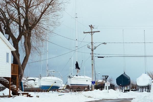 JOED VIERA/STAFF PHOTOGRAPHER- Olcott, NY- Boats are docked at the Newfane Marina. Wednesday, February, 25, 2015