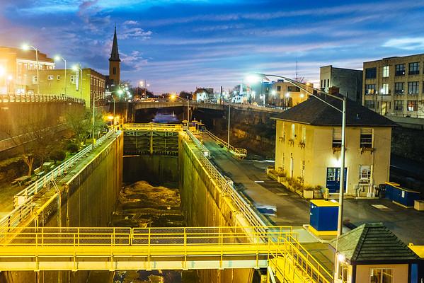 JOED VIERA/STAFF PHOTOGRAPHER- Lockport, NY- The sun sets behind the Locks. Monday, January, 12, 2015