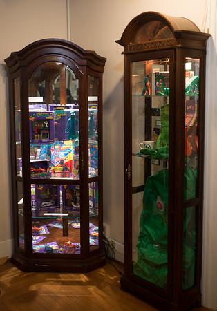 JOED VIERA/STAFF PHOTOGRAPHER- Lockport, NY-Gumby memorabilia fills cabinets at the Lockport Historical Society. Wednesday, February, 4, 2015