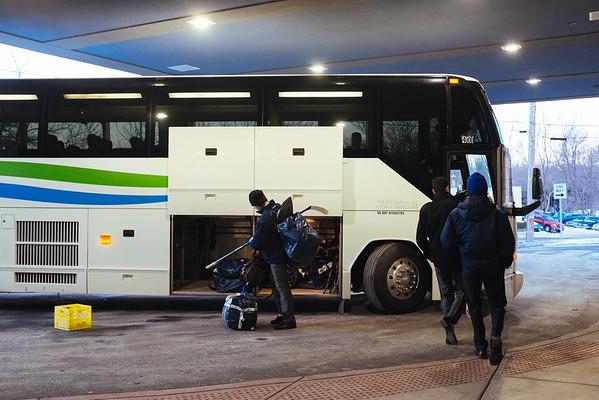 JOED VIERA/STAFF PHOTOGRAPHER- Lockport, NY- A bus picks up the Byrth Bruins from Burlington, Ontario at Cornerstone Arena. Friday, January, 23, 2015