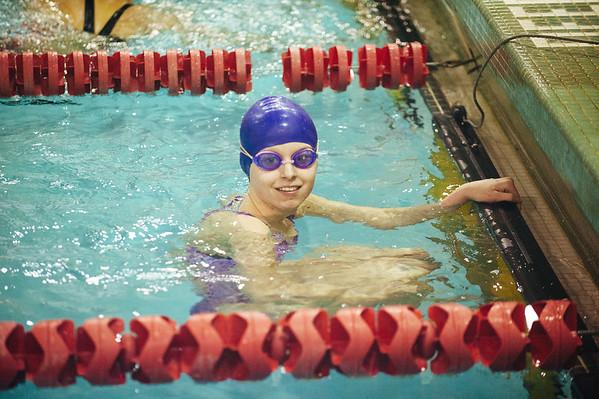 JOED VIERA/STAFF PHOTOGRAPHER- Middleport, NY-Alexandrea Hill 16 after winning an event at a swim meet. Thursday, January, 29, 2015