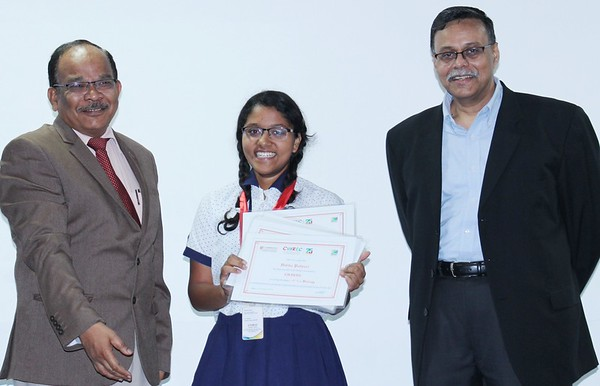 Chief Guest - Professor Sheshadri, and Principal International Curricula with Vedika Patwari - the all A star performer in the IGCSE Examinations 2015