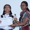 Middle Wing Coordinator Ms. Swapna Kannedi with, Deepti Sunkara (Stage 9) -  the star performer in English and Math, in the Secondary Checkpoint Examinations 2015