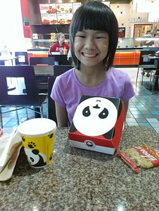 We had lunch at Panda Express, one of Kaara's favorties, in the food court at Washington Square
