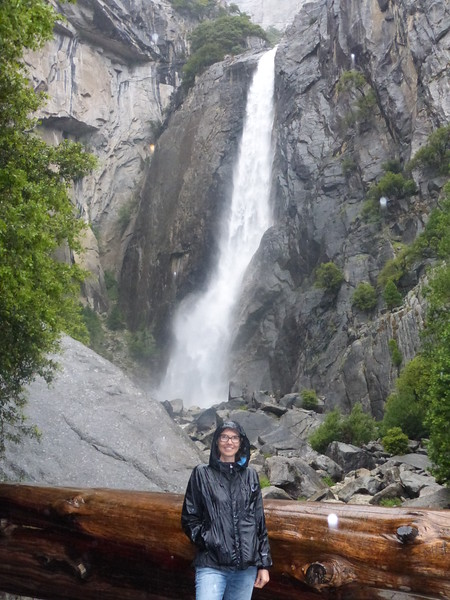 Kelly is wet from rain not from Yosemite Falls