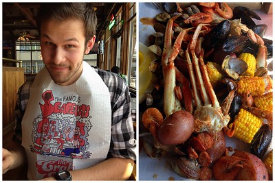 Jared Wearing His Crab Pot Bib, and a Close up Shot of our Sea Feast