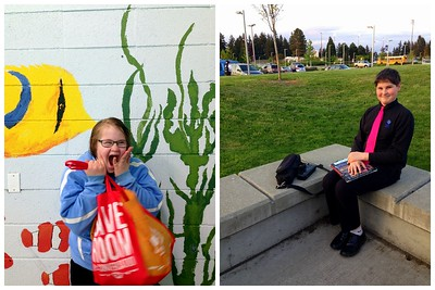 Rachel after Swimming, and Chris after his band concert